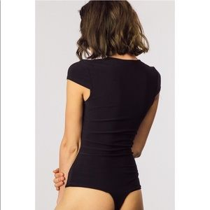 Tops - Black Vneck Cap Sleeve Bodysuit